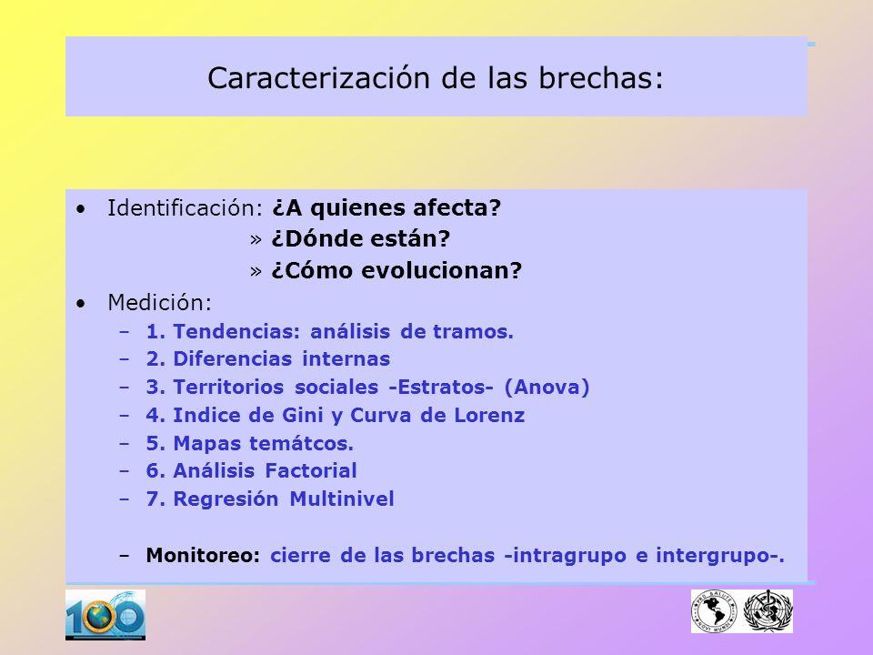 Caracterización de las brechas: 1. Identificación 2. Descripción 3. Medición 4. Comparación 5. Predicción (Anticipar) Metodología