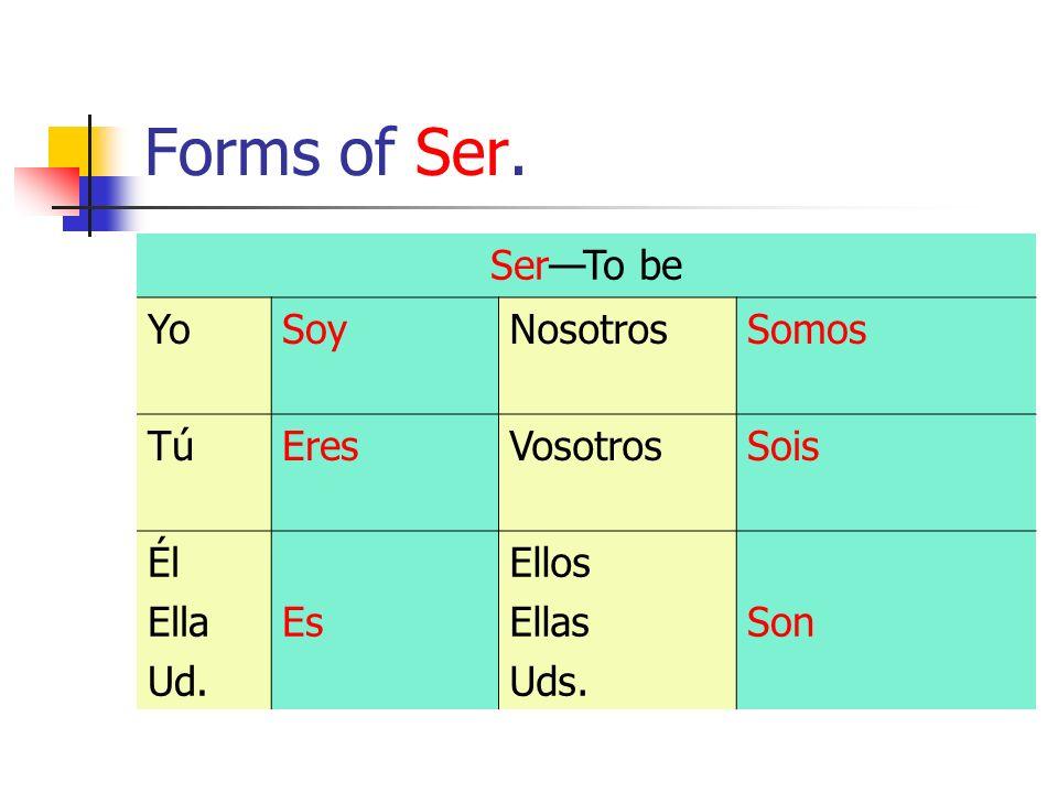 Forms of Ser. SerTo be YoSoyNosotrosSomos TúTúEresVosotrosSois Él Ella Ud. Es Ellos Ellas Uds. Son