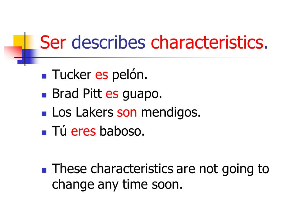 Ser describes characteristics. Tucker es pelón. Brad Pitt es guapo. Los Lakers son mendigos. Tú eres baboso. These characteristics are not going to ch