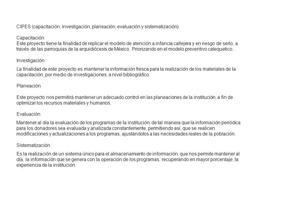 CIPES (capacitación, investigación, planeación, evaluación y sistematización).