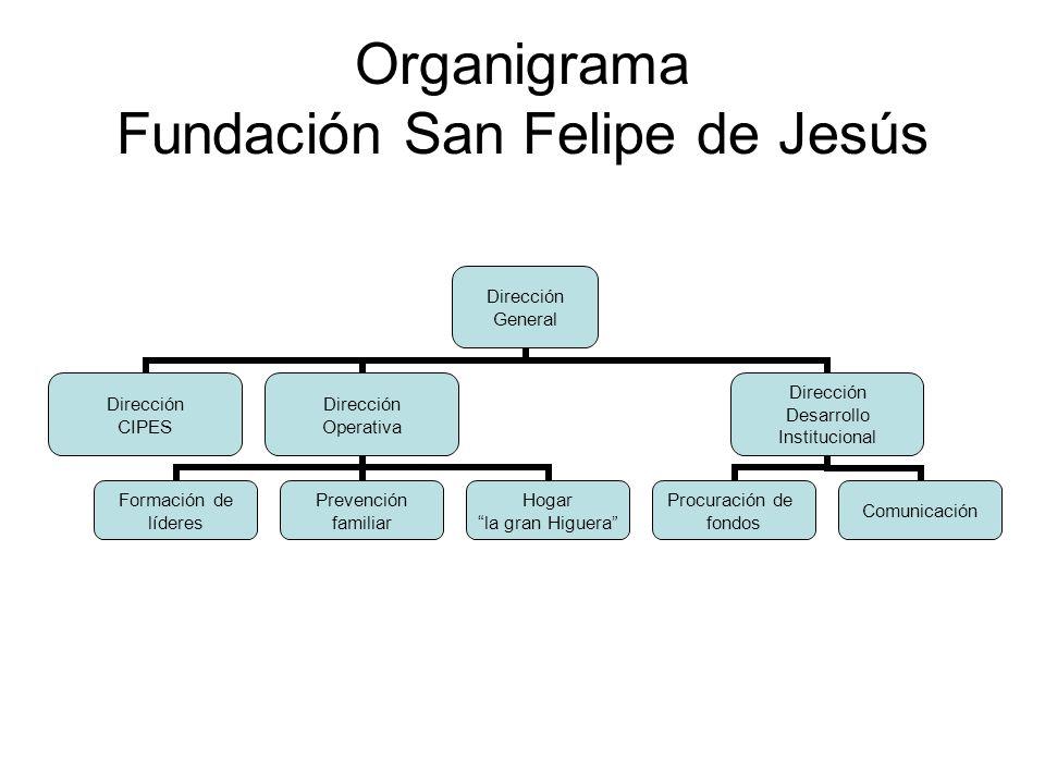 Organigrama Fundación San Felipe de Jesús Dirección General Dirección CIPES Dirección Operativa Formación de líderes Prevención familiar Hogar la gran