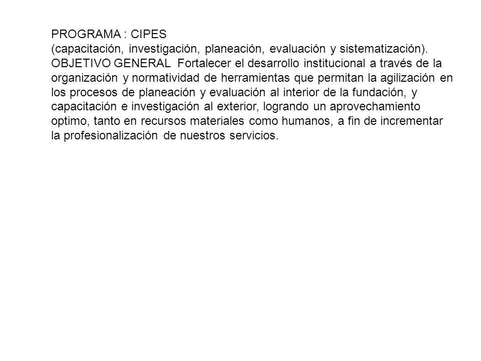 PROGRAMA : CIPES (capacitación, investigación, planeación, evaluación y sistematización). OBJETIVO GENERAL Fortalecer el desarrollo institucional a tr