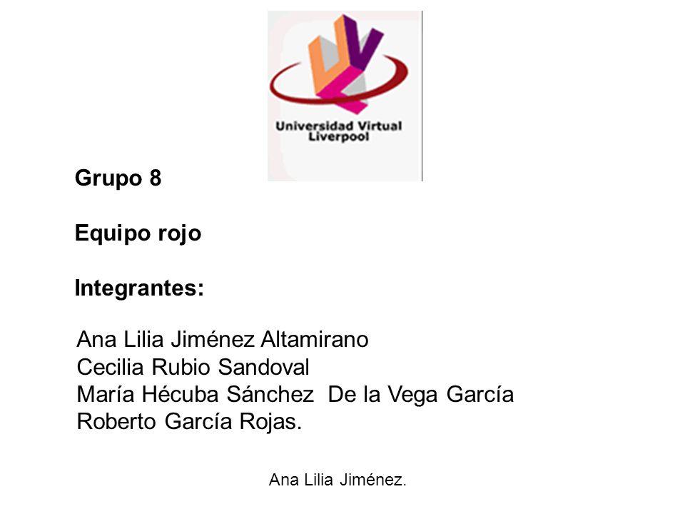 Grupo 8 Equipo rojo Integrantes: Ana Lilia Jiménez Altamirano Cecilia Rubio Sandoval María Hécuba Sánchez De la Vega García Roberto García Rojas. Ana