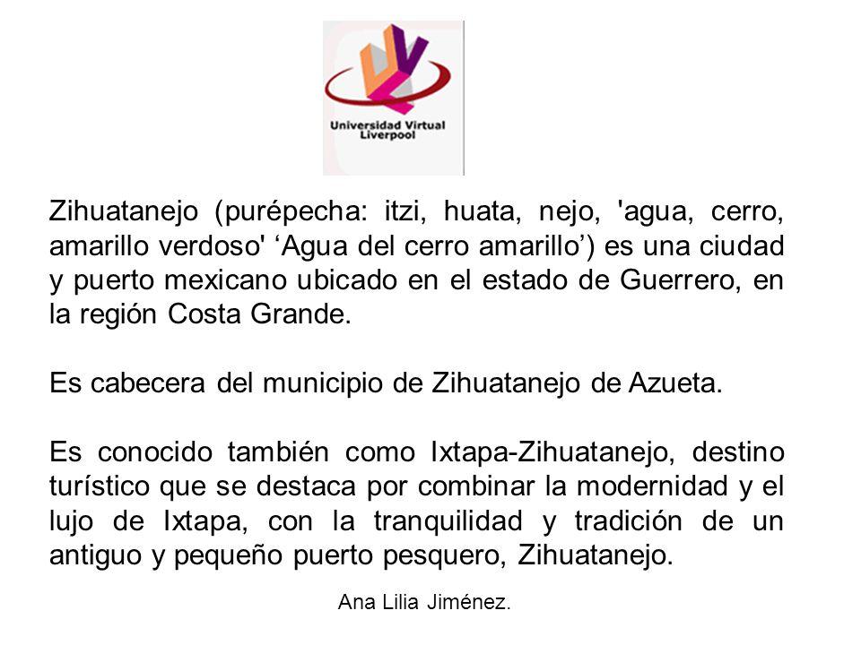 Zihuatanejo (purépecha: itzi, huata, nejo, 'agua, cerro, amarillo verdoso' Agua del cerro amarillo) es una ciudad y puerto mexicano ubicado en el esta