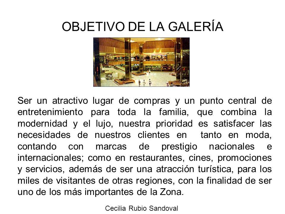 Cecilia Rubio Sandoval OBJETIVO DE LA GALERÍA Ser un atractivo lugar de compras y un punto central de entretenimiento para toda la familia, que combin