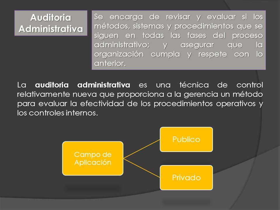 Auditoria Administrativa Se encarga de revisar y evaluar si los métodos, sistemas y procedimientos que se siguen en todas las fases del proceso admini