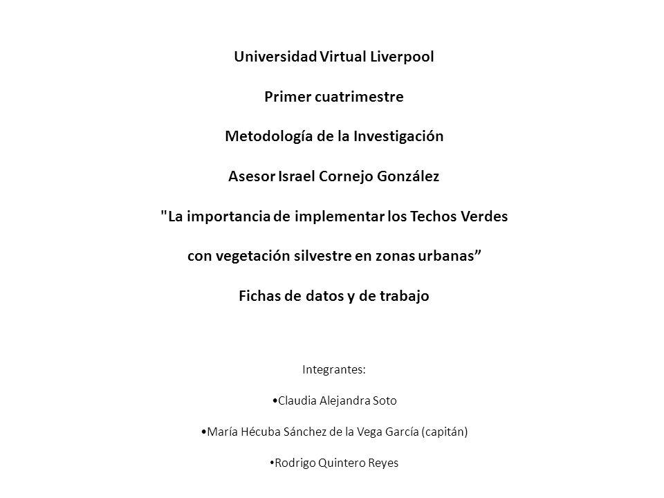 Universidad Virtual Liverpool Primer cuatrimestre Metodología de la Investigación Asesor Israel Cornejo González