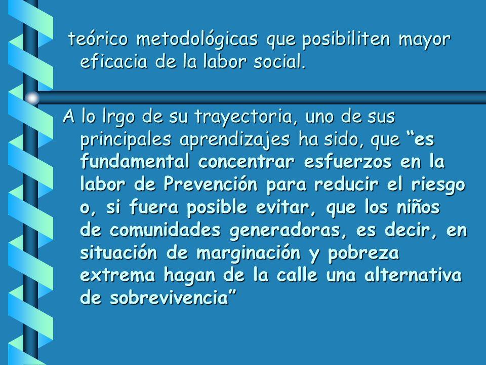 teórico metodológicas que posibiliten mayor eficacia de la labor social.
