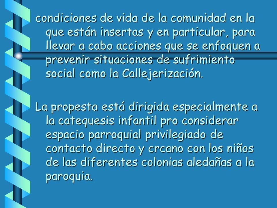 condiciones de vida de la comunidad en la que están insertas y en particular, para llevar a cabo acciones que se enfoquen a prevenir situaciones de sufrimiento social como la Callejerización.