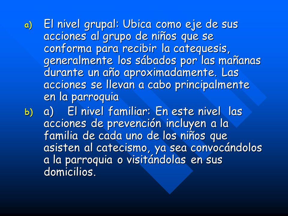 a) El nivel grupal: Ubica como eje de sus acciones al grupo de niños que se conforma para recibir la catequesis, generalmente los sábados por las mañanas durante un año aproximadamente.