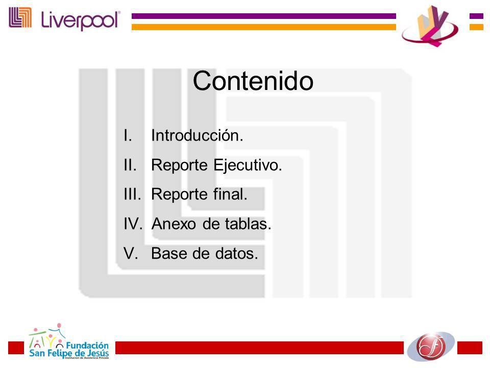 Contenido I. Introducción. II. Reporte Ejecutivo. III. Reporte final. IV. Anexo de tablas. V. Base de datos.