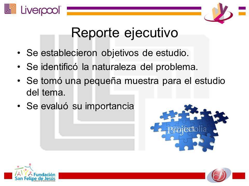 Reporte ejecutivo Se establecieron objetivos de estudio. Se identificó la naturaleza del problema. Se tomó una pequeña muestra para el estudio del tem