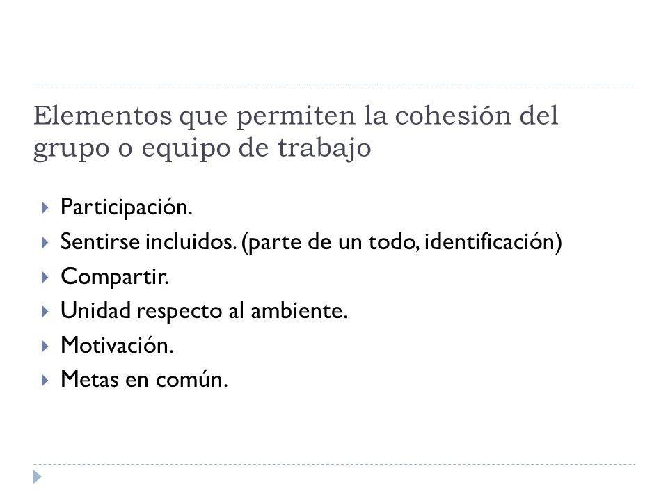 Elementos que permiten la cohesión del grupo o equipo de trabajo Participación.