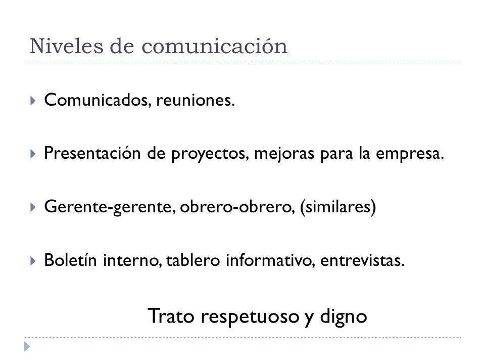 Niveles de comunicación Comunicados, reuniones. Presentación de proyectos, mejoras para la empresa.