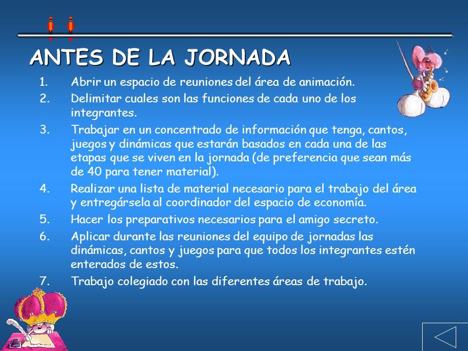 ANTES DE LA JORNADA 1.Abrir un espacio de reuniones del área de animación.