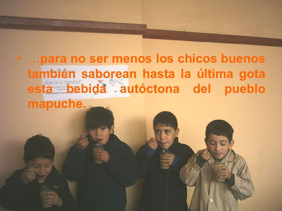 …para no ser menos los chicos buenos también saborean hasta la última gota esta bebida autóctona del pueblo mapuche.