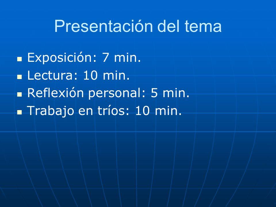 Presentación del tema Exposición: 7 min. Lectura: 10 min. Reflexión personal: 5 min. Trabajo en tríos: 10 min.