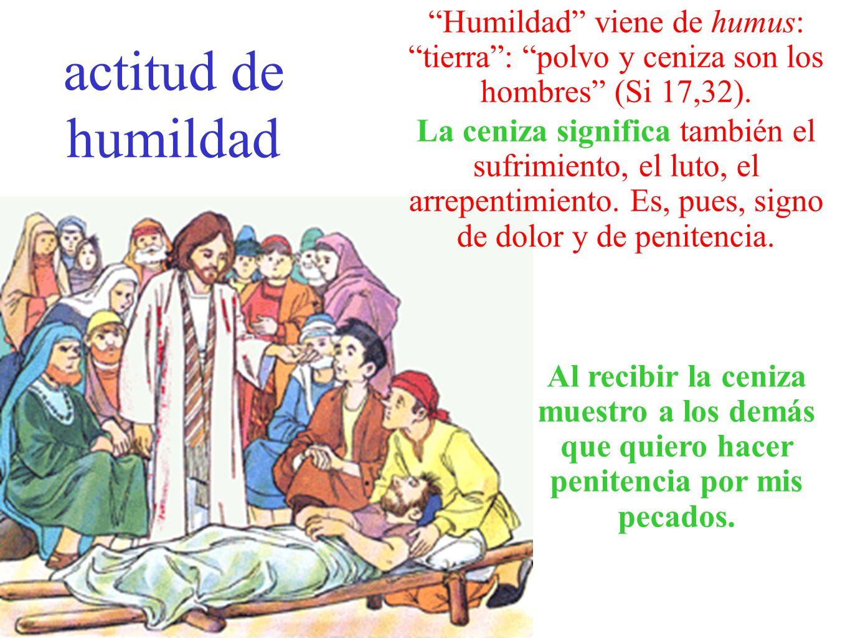 actitud de humildad Humildad viene de humus: tierra: polvo y ceniza son los hombres (Si 17,32). La ceniza significa también el sufrimiento, el luto, e