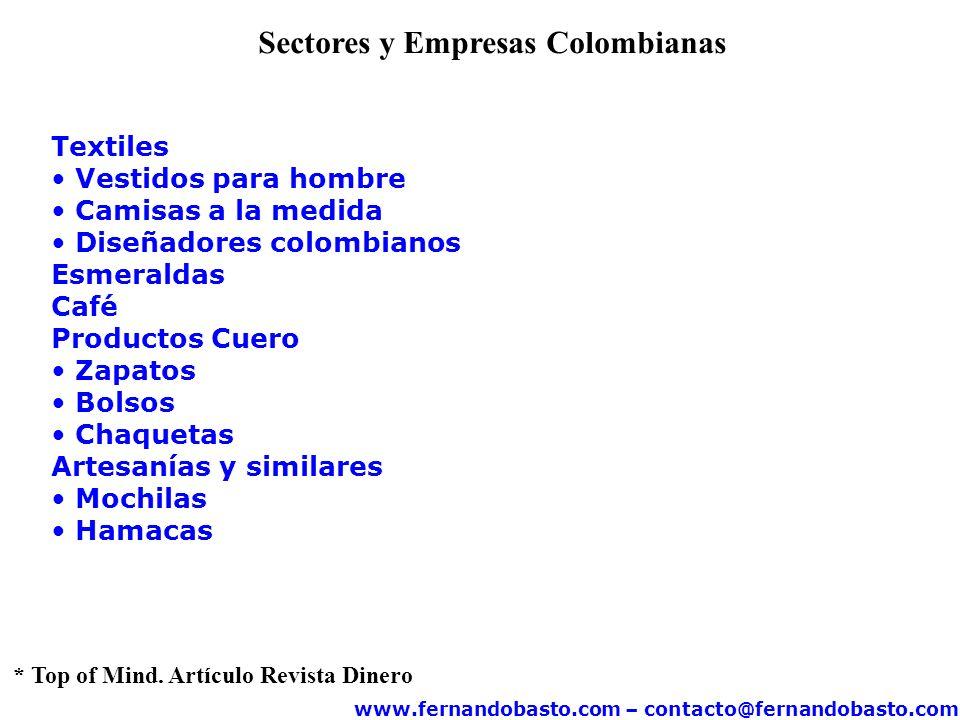 www.fernandobasto.com – contacto@fernandobasto.com Sectores y Empresas Colombianas Textiles Vestidos para hombre Camisas a la medida Diseñadores colom