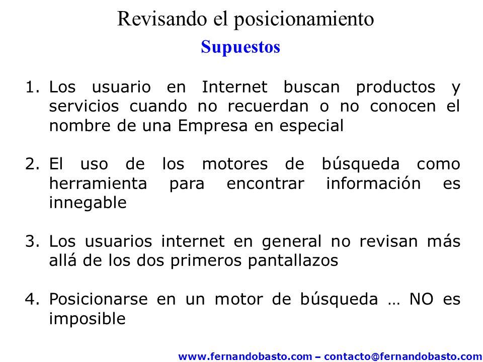 www.fernandobasto.com – contacto@fernandobasto.com Revisando el posicionamiento Supuestos 1.Los usuario en Internet buscan productos y servicios cuand