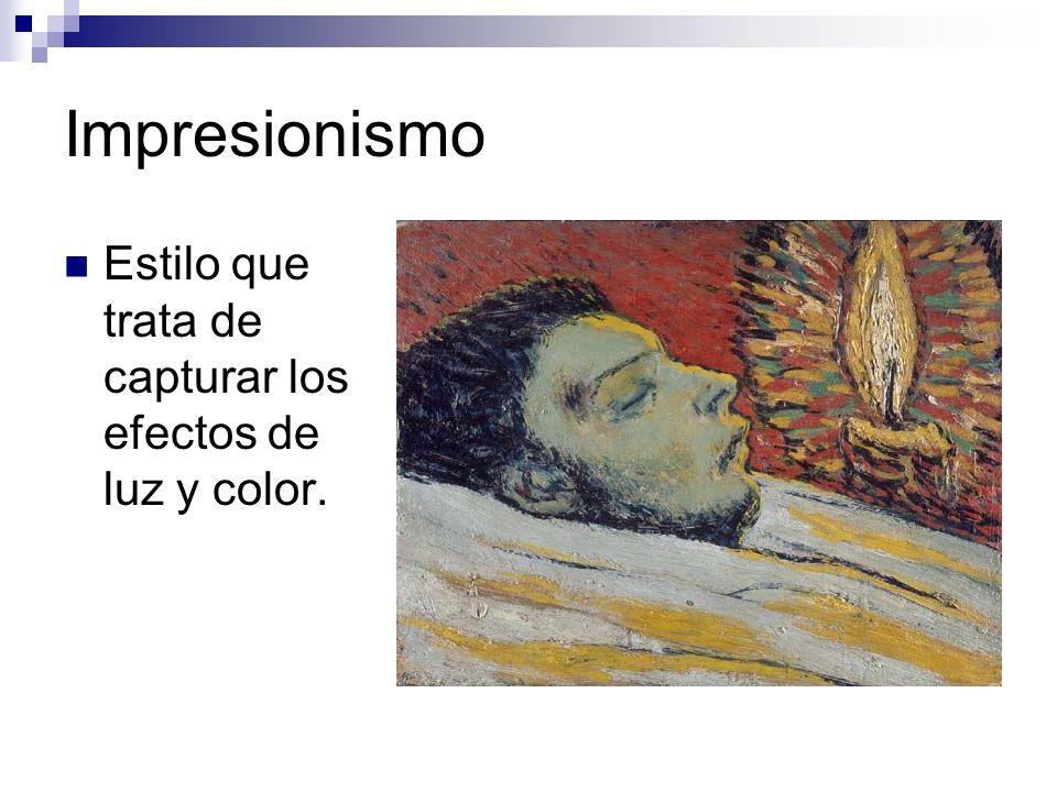 Impresionismo Estilo que trata de capturar los efectos de luz y color.