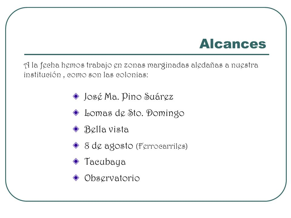 Alcances A la fecha hemos trabajo en zonas marginadas aledañas a nuestra institución, como son las colonias: José Ma. Pino Suárez Lomas de Sto. Doming