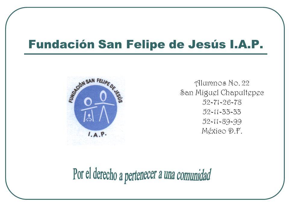 Fundación San Felipe de Jesús I.A.P. Alumnos No. 22 San Miguel Chapultepec 52-71-26-78 52-11-33-33 52-11-89-99 México D.F.
