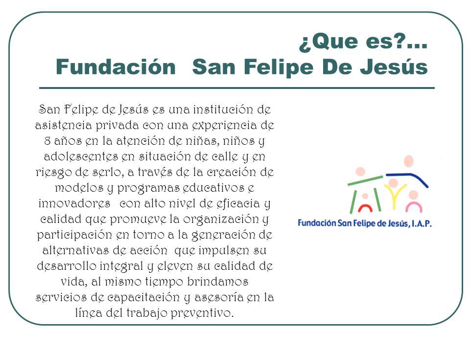 ¿Que es?... Fundación San Felipe De Jesús San Felipe de Jesús es una institución de asistencia privada con una experiencia de 8 años en la atención de
