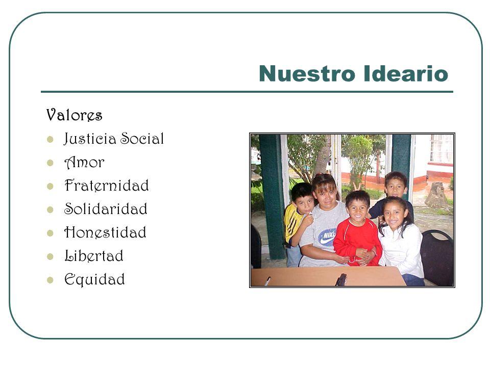 Nuestro Ideario Valores Justicia Social Amor Fraternidad Solidaridad Honestidad Libertad Equidad