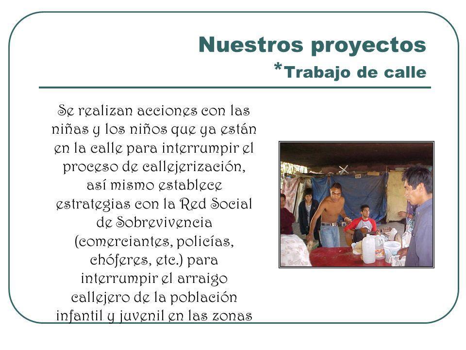 Nuestros proyectos * Trabajo de calle Se realizan acciones con las niñas y los niños que ya están en la calle para interrumpir el proceso de callejeri