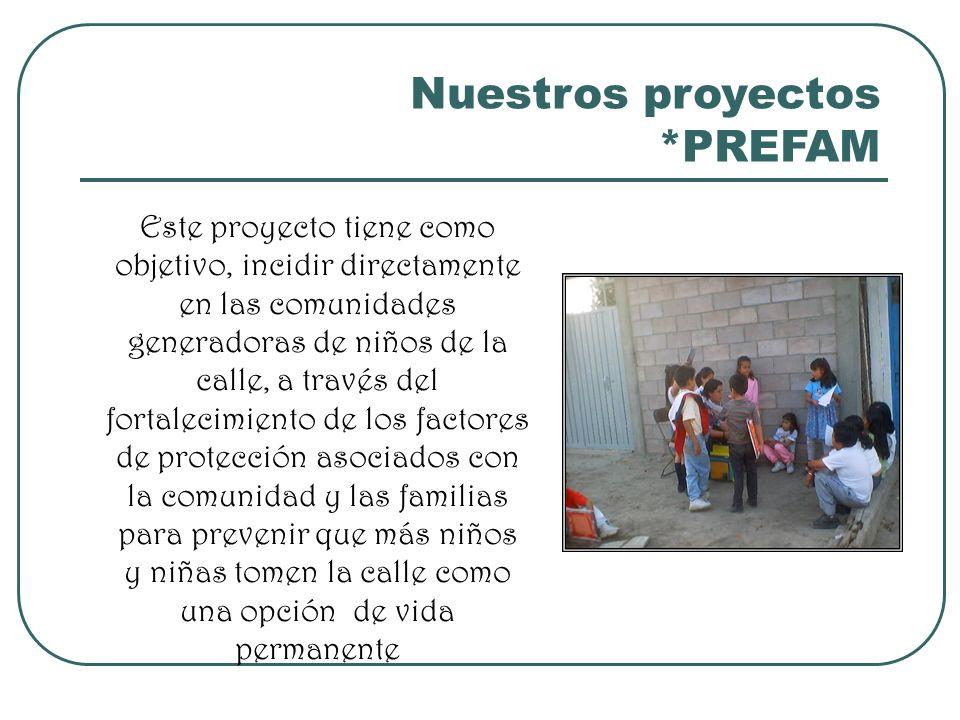 Nuestros proyectos *PREFAM Este proyecto tiene como objetivo, incidir directamente en las comunidades generadoras de niños de la calle, a través del f