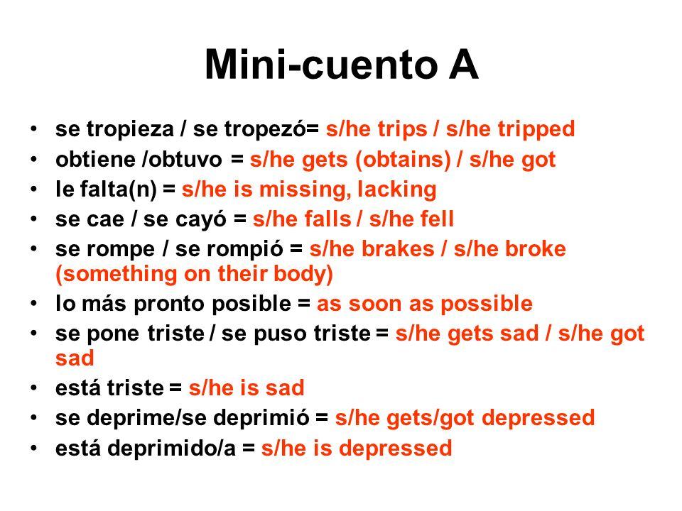 Mini-cuento A se tropieza / se tropezó= s/he trips / s/he tripped obtiene /obtuvo = s/he gets (obtains) / s/he got le falta(n) = s/he is missing, lack