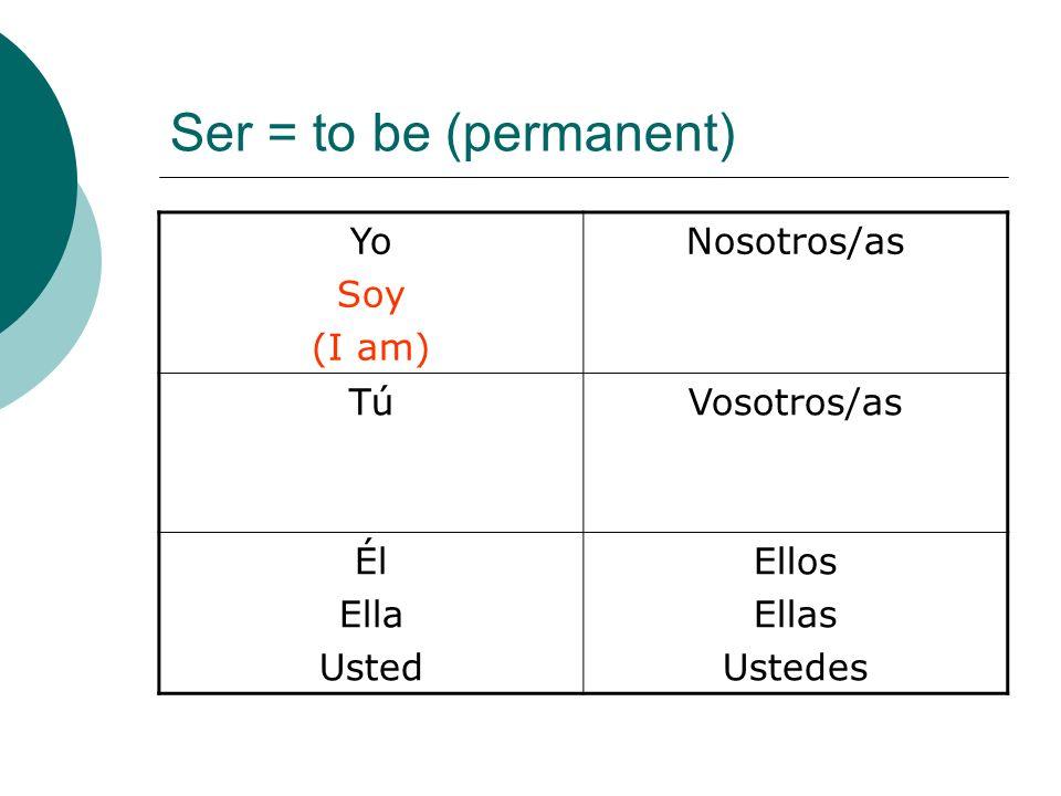 Ser = to be (permanent) Yo Soy (I am) Nosotros/as TúVosotros/as Él Ella Usted Ellos Ellas Ustedes