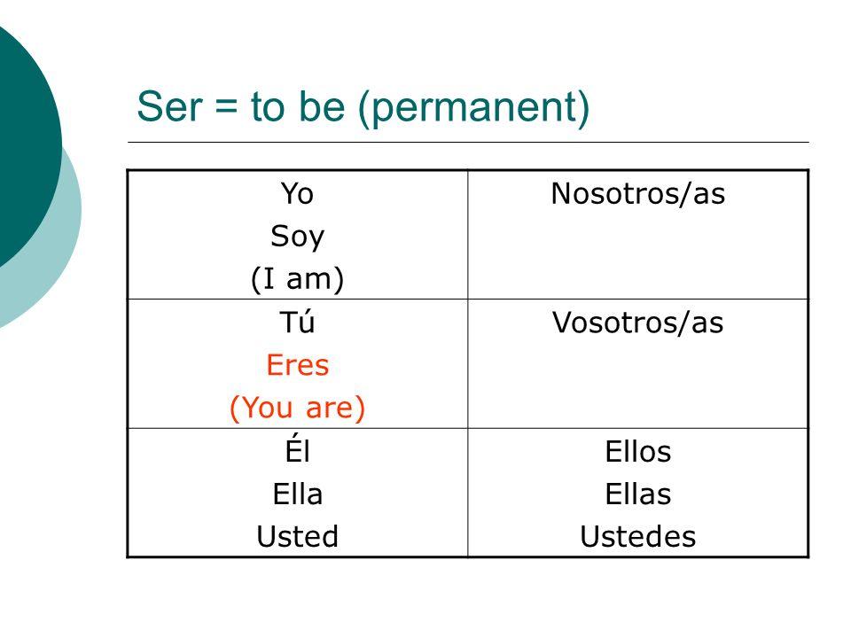 Ser = to be (permanent) Yo Soy (I am) Nosotros/as Tú Eres (You are) Vosotros/as Él Ella Usted Ellos Ellas Ustedes