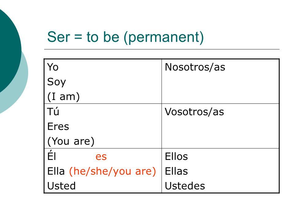 Ser = to be (permanent) Yo Soy (I am) Nosotros/as Tú Eres (You are) Vosotros/as Él es Ella (he/she/you are) Usted Ellos Ellas Ustedes
