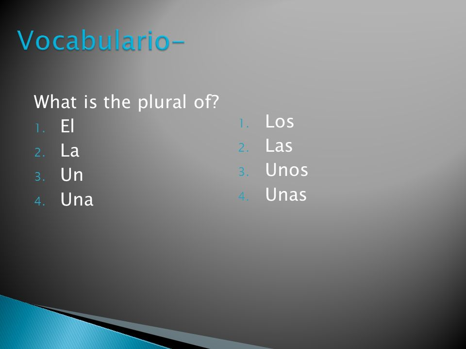 What is the plural of? 1. El 2. La 3. Un 4. Una 1. Los 2. Las 3. Unos 4. Unas