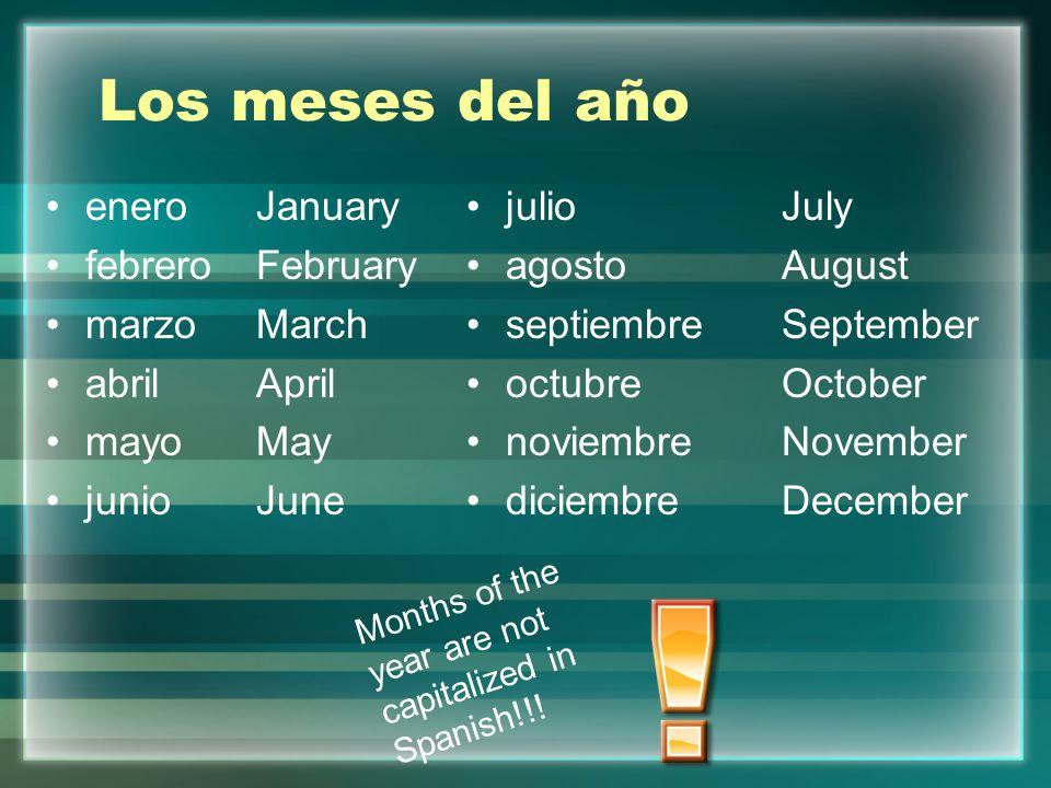 Los meses del año eneroJanuary febreroFebruary marzoMarch abrilApril mayoMay junioJune julioJuly agostoAugust septiembreSeptember octubreOctober novie