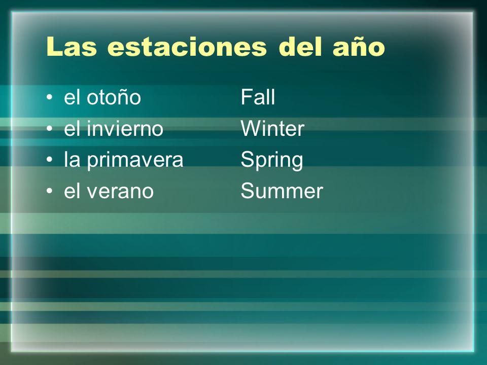 Las estaciones del año el otoñoFall el inviernoWinter la primaveraSpring el veranoSummer
