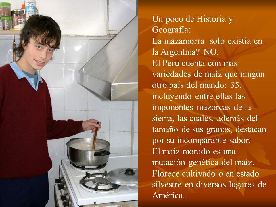 Un poco de Historia y Geografía: La mazamorra solo existia en la Argentina? NO. El Perú cuenta con más variedades de maíz que ningún otro país del mun