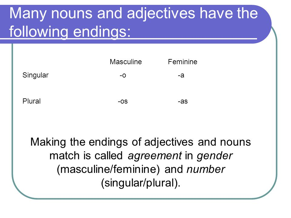 Many nouns and adjectives have the following endings: MasculineFeminine Singular -o -a Plural -os -as Making the endings of adjectives and nouns match is called agreement in gender (masculine/feminine) and number (singular/plural).