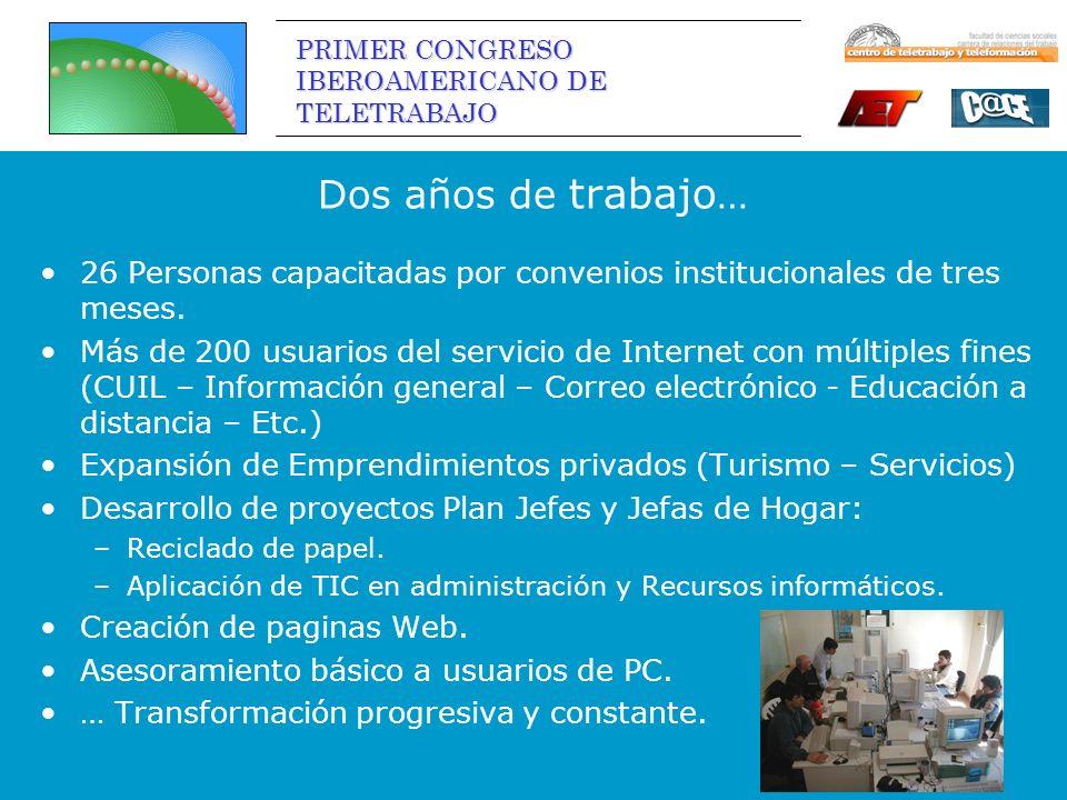 PRIMER CONGRESO IBEROAMERICANO DE TELETRABAJO Dos años de trabajo … 26 Personas capacitadas por convenios institucionales de tres meses.