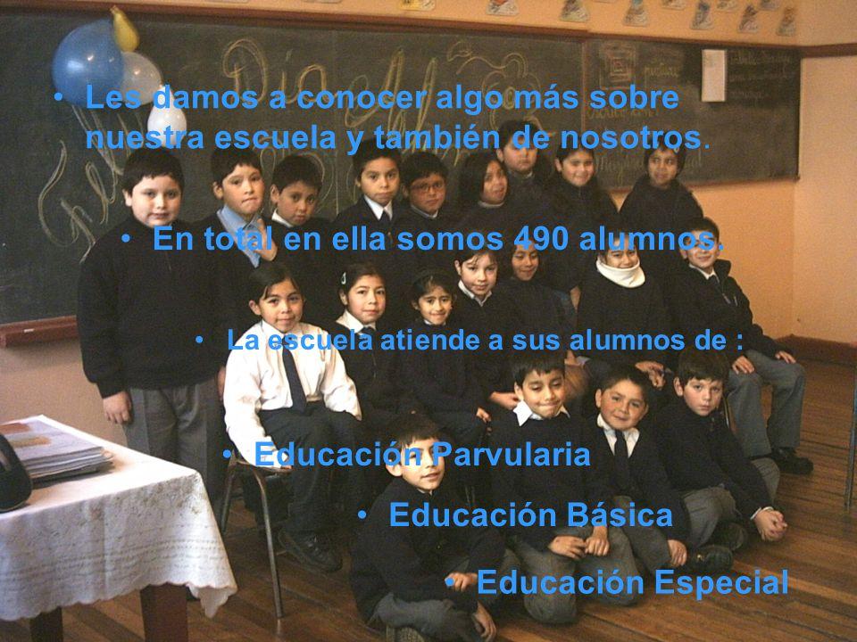 La escuela atiende a sus alumnos de : En total en ella somos 490 alumnos.
