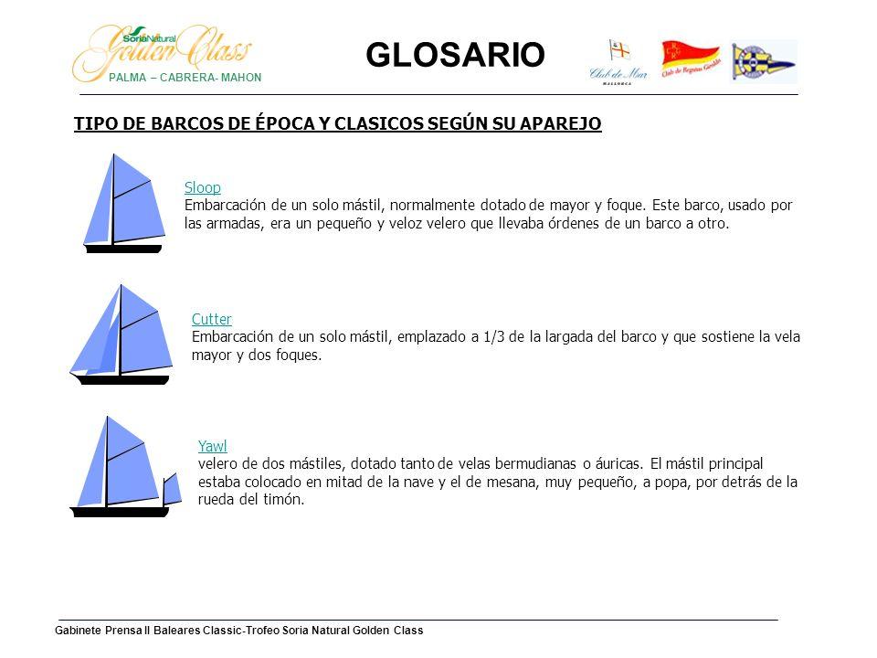 GLOSARIO TIPO DE BARCOS DE ÉPOCA Y CLASICOS SEGÚN SU APAREJO Goleta o Schooner:Schooner Velero de dos mástiles, que lleva velas de tipos diversos.
