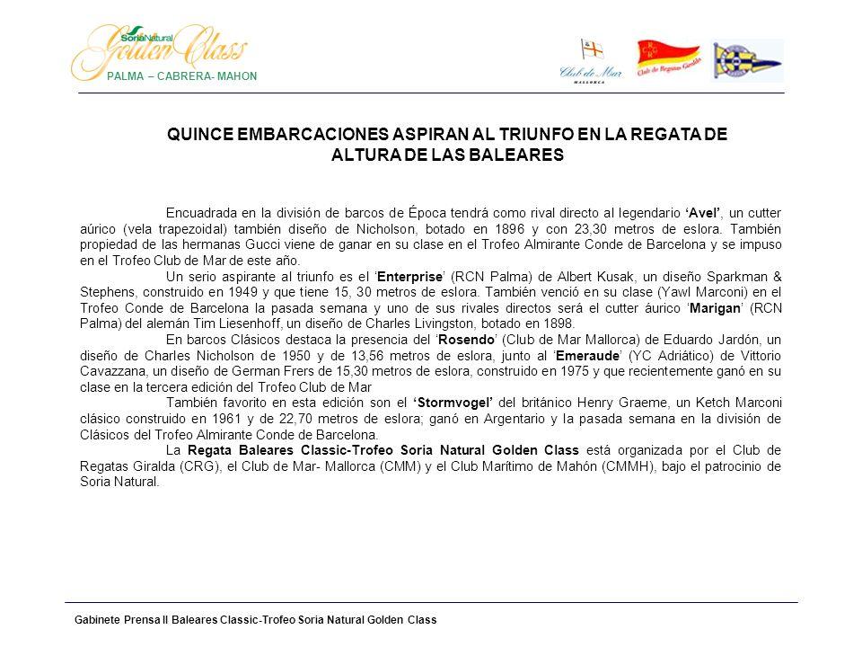 Gabinete Prensa II Baleares Classic-Trofeo Soria Natural Golden Class PALMA – CABRERA- MAHON LISTADO INSCRITOS