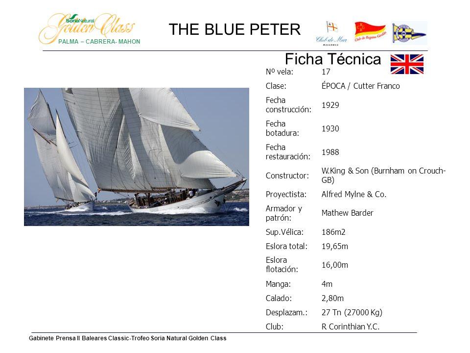HISTORIA Encargado por Alfred Myline, The Blue Peter todavía hoy es un espléndido barco de regata.