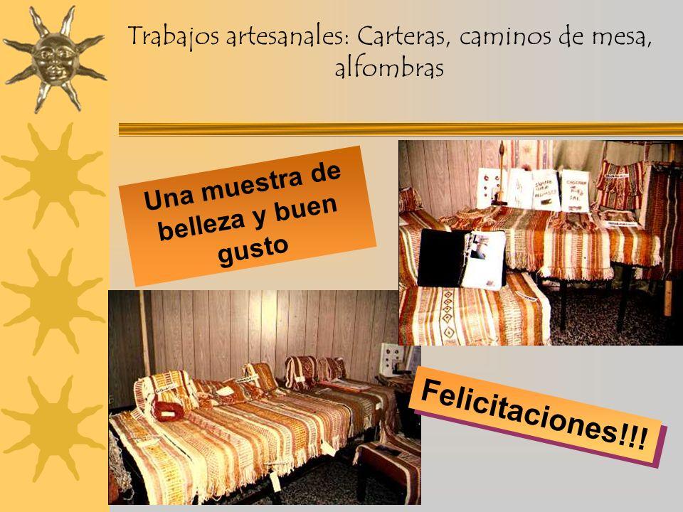 Trabajos artesanales: Carteras, caminos de mesa, alfombras Felicitaciones!!.