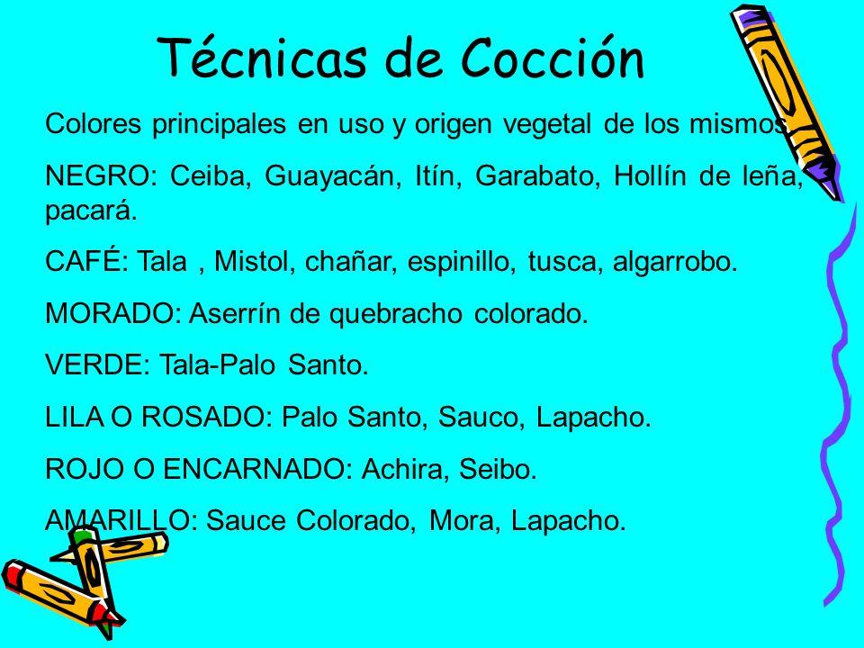 Técnicas de Cocción Colores principales en uso y origen vegetal de los mismos. NEGRO: Ceiba, Guayacán, Itín, Garabato, Hollín de leña, pacará. CAFÉ: T