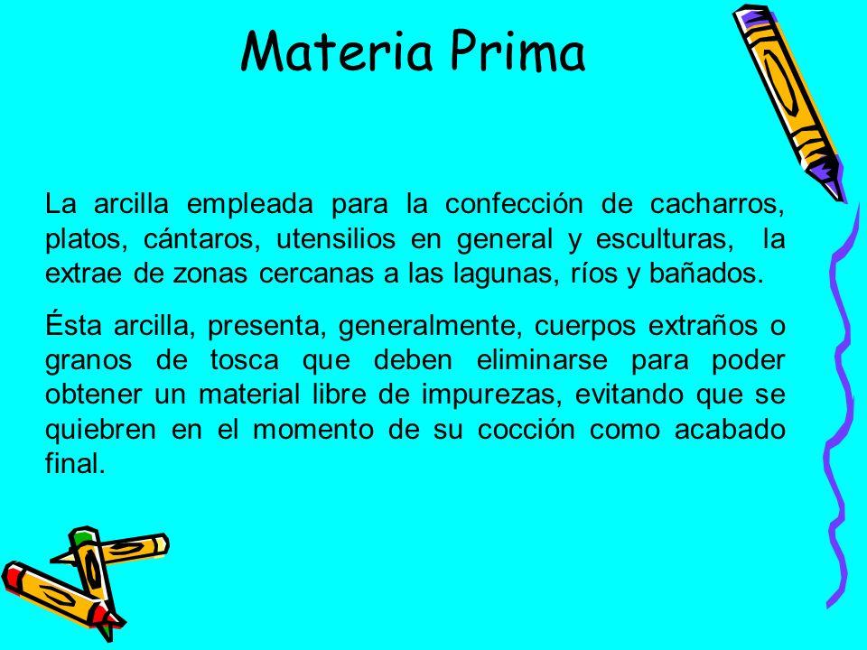 Materia Prima La arcilla empleada para la confección de cacharros, platos, cántaros, utensilios en general y esculturas, la extrae de zonas cercanas a