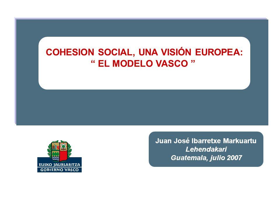 COHESION SOCIAL, UNA VISIÓN EUROPEA: EL MODELO VASCO Juan José Ibarretxe Markuartu Lehendakari Guatemala, julio 2007
