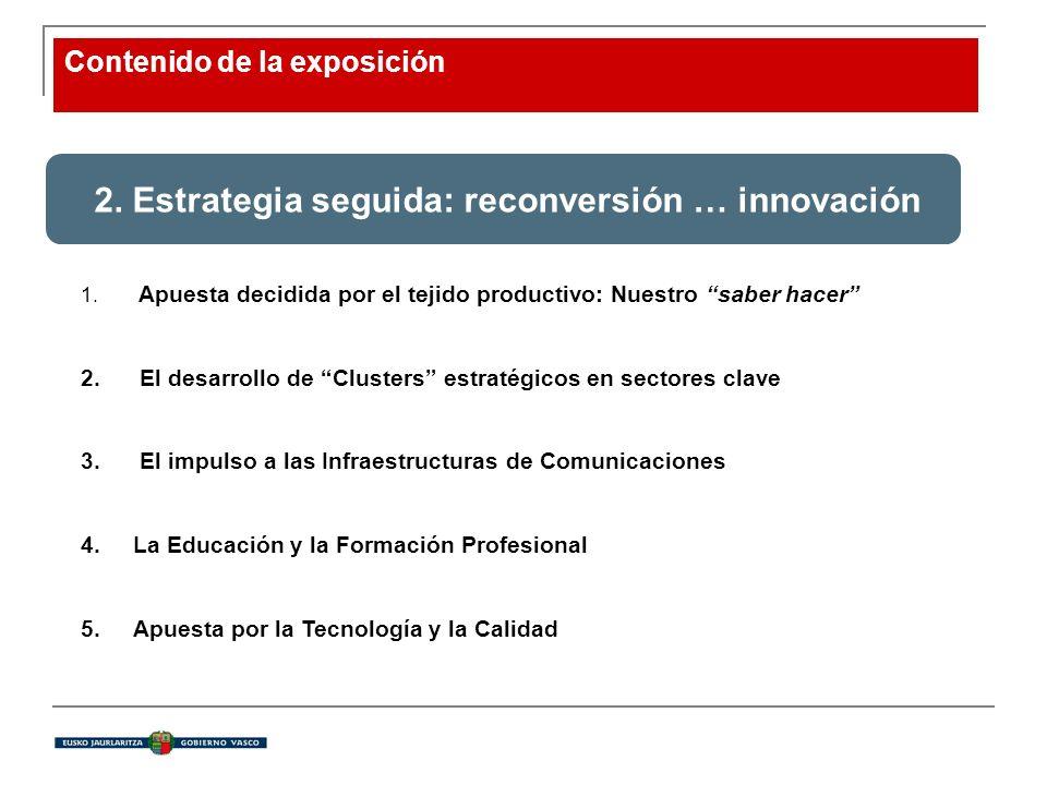 Contenido de la exposición 2. Estrategia seguida: reconversión … innovación 1. Apuesta decidida por el tejido productivo: Nuestro saber hacer 2. El de